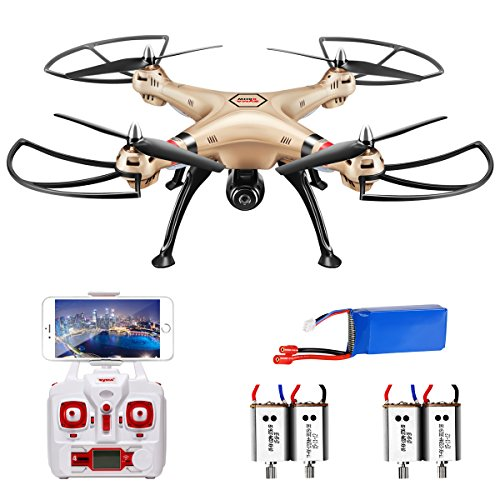 Preisvergleich Produktbild Syma X8HW Live FPV RC Quadrocopter Drohne mit HD Kamera WIFI kopflos Höheneinstellung Ersatz Motor Golden