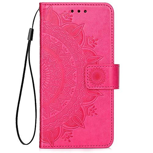 QPOLLY Kompatibel mit Samsung Galaxy A20/A30 Hülle PU Leder Tasche Brieftasche Handyhülle Totem Blumen Muster Ledertasche Flip Hülle Schutzhülle mit Ständer Kartenhalter für Galaxy A20/A30,Rose rot