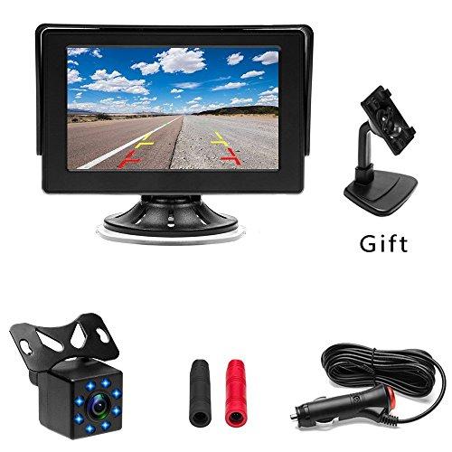 Auto Backup Kamera System camecho 10,9cm Monitor + 8LED Kamera, 20ft BMW 4Pins Kabel, mit Quick Install für Zigarettenanzünder für 12V Universal Fahrzeuge
