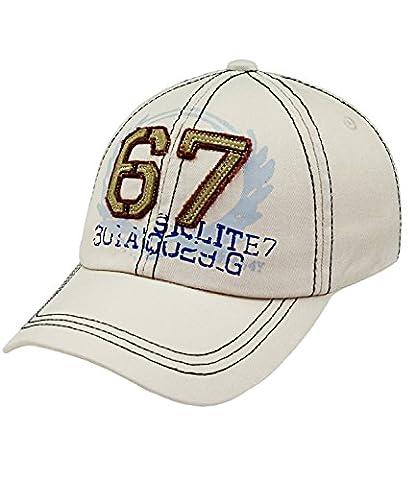 Fiebig Baseball Cap Basecap Kappe Herren Cap Mütze Streetwear größenverstellbar mit Aufnäher und Aufdruck für Männer (FI-59579-S16-HE0-4-58) in beige, Größe 58 inkl. EveryHead-Hutfibel