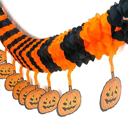 Trixes schaurige Halloween Girlande Schwarz & Orange Papier Dekoration mit hängenden Kürbisse
