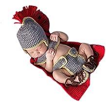 Bebé recién nacido fotografía apoyos niño Niña Crochet disfraz trajes ejército General Set