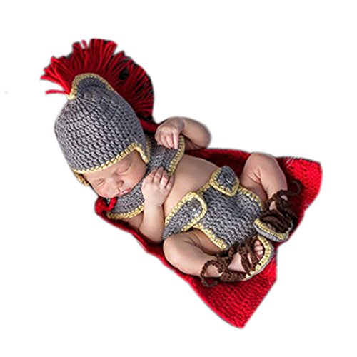 Neugeborene Baby Fotografie Requisiten Boy Girl Crochet Kostüm Outfits Armee General Set