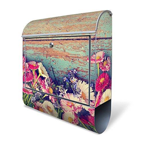 BANJADO Design Briefkasten mit Zeitungsfach, 2 Schlüssel, A4 Einwurf, silber pulverbeschichtet, mit Motiv Blumenpflücken