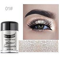kiss my dear Polvo Brillantes de Sombras de Ojos Polvo Glitter Iluminador Facial Polvo de Resaltar para Maquillaje Facial