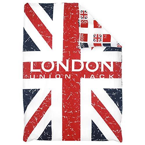 Housse de Couette 140x200 cm 100% Coton London Union Jack