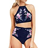 TWIFER Damen Badeanzug Neckholder Push up Bikini High Waist Hose (S/EU 34, Marine)