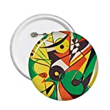 DIYthinker gelb grün Herz Kreis Western Stil Abstrakte Kunst Malerei rund Pins Badge Button Kleidung Dekoration Geschenk 5X L grün/gelb