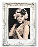 WOLTU BR9777-a Bilderrahmen Fotogalerie Foto Collage, Barock, Antik, Kunststoff Rahmen, Pappe Rückseite, Glasscheiben, Weiß-Silber, 13x18cm