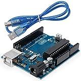 Anpro Carte UNO R3 ATmega328P ATMEGA16U2 Board 55CM Bleu Câble USB Parfait Compatible ARDUINO UNO