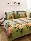 Homefab India Luxury 3D 140 TC Polycotton Double Bedsheet with 2 Pillow Covers - Multicolour