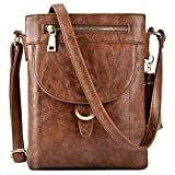 Umhängetasche Damen, Fanspack Handtasche Damen PU Leder Klein Schultertasche Casual Crossbody Messenger Tasche Abendtasche (Brown)