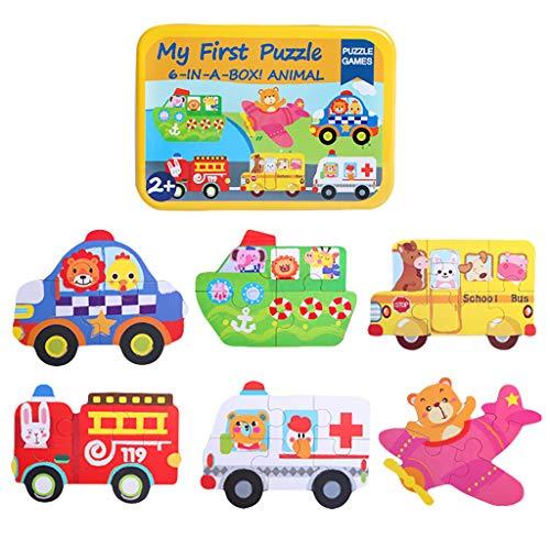 Tianya Neue 6-In-6 Tier Cartoon Holz Verkehr Puzzle Früherziehung Puzzle Kinderspielzeug (E)