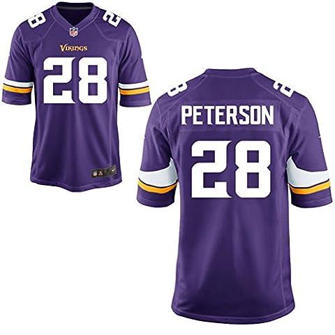 28 Peterson Adrian Trikot Minnesota Vikings Jersey American Football Shirt Youth Purple Size XL