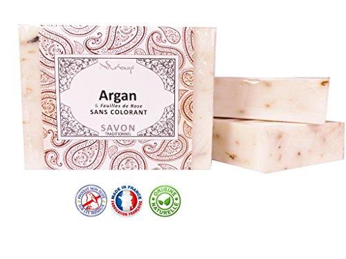 ARGAN ET ROSE - Savon Argan et feuilles de rose- 100g - Fabrication Française - Sans colorant