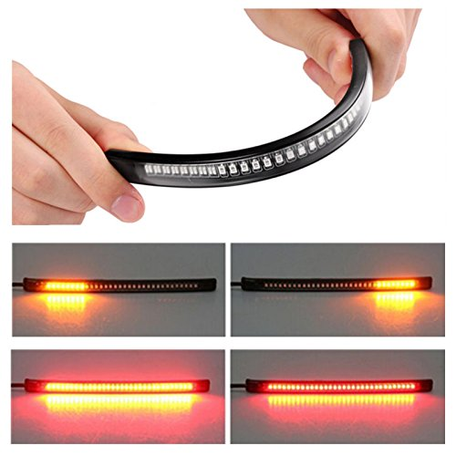 zhuotop Motorrad Light LED Strip Schwanz Bremse Stop/TURN Sign Light 48LED UNIVERSAL flexibel