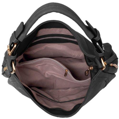 CASPAR Damen Tasche / Handtasche / Schultertasche mit schönen Ziernähten - viele Farben Schwarz