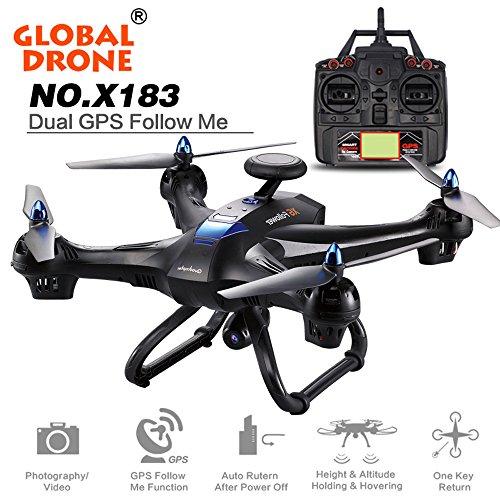 Bluestercool Drone RC Quadcopter X183 Avec 5GHz WiFi FPV 1080P Caméra GPS Brushless Quadcopter (Noir)