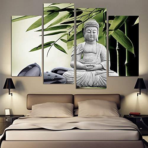 ZUMOOY Kunst Wohnkultur Rahmen Leinwand Malerei Poster 4 Stück/Stücke Buddha Bambus Steinmauer, Kein Rahmen, 40x80 40x100 cm -