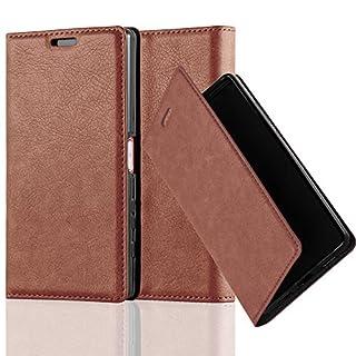 Cadorabo Hülle für Sony Xperia Z5 COMPACT - Hülle in Cappuccino BRAUN – Handyhülle mit Magnetverschluss, Standfunktion und Kartenfach - Case Cover Schutzhülle Etui Tasche Book Klapp Style