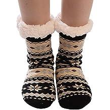 Kinlene Calcetines de algodón para mujeres de Navidad Imprimir gruesas antideslizantes Calcetines de piso Calcetines de