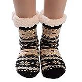 Calcetines Mujer Divertidos Invierno Antideslizantes Calcetines AlgodóN Navidad Imprimir Gruesas Piso Calcetines Alfombra (Negro)