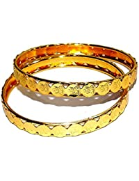 Jewels Kafe Golden Bangles Set Of 2 For Women Size 2.6