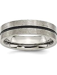 ICE CARATS Titanium Black Enamel 6mm Brushed Wedding Ring Band Fashion Jewelry Gift Set For Women Heart