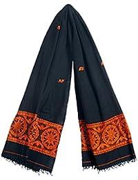 DollsofIndia Black Orissa Cotton Stole With Baluchari Wheel Design Pallu - 36 X 76 Inches (RH21) - Black, Saffron
