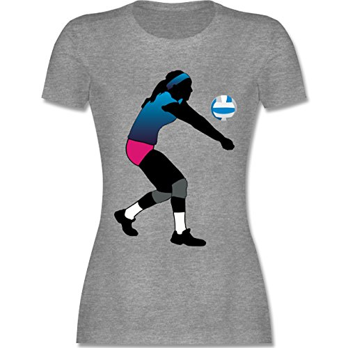 Volleyball - Volleyballspielerin Baggern - tailliertes Premium T-Shirt mit Rundhalsausschnitt für Damen Grau Meliert