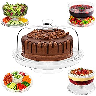 Andrew James 5 in 1 Cake Stand | Turntable Display with Dome Lid & Plastic Dessert Serving Bowls | For Punch Trifle Salad Chip n Dip | Platter for Snacks & Serving Dips