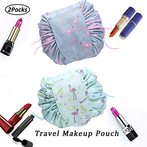 Faule Make-up Tasche Kordelzug Tragbare Quick Pack Reise-Make-up-Etui Fall Multifunktionale wasserdichte Kulturbeutel Make-up Pinsel Aufbewahrungs-Organizer (2 Packs D)