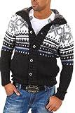 CARISMA Strickjacke Norweger Pullover 7011 [Schwarz, XXL]