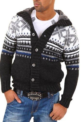 CARISMA Strickjacke Norweger Pullover 7011 [Schwarz, XL]