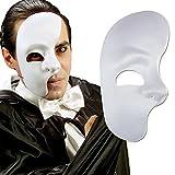 NET TOYS Maschera del Fantasma dell'Opera bianca mezza faccia volto metà carnevale costume accessorio