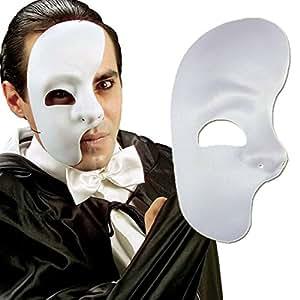 Masque de fantôme masque demi visage blanc loup fantôme de l'opéra masque de carnaval moitié de visage accessoire bal masqué, accessoires déguisement
