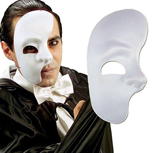 NET TOYS Phantommaske Halbes Gesicht Maske weiß Phantom der Oper Halbmaske Eine Gesichtshälfte Karnevalsmaske Maskenball Accessoire Kostüme Zubehör