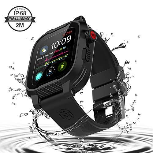 TENCOU Kompatibel mit Apple Watch 4 Hülle, IP68 wasserdichte robuste Schutzhülle mit eingebautem Displayschutz und Ersatzarmband für Apple Watch Serie 4 [44 mm]