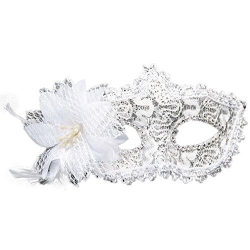 Stil Strass Augenschild Halloween Party Kostüm Masquerade Lilie Blume Prinzessin Maske (weiß) (Prinzessin Adult Halloween Kostüme)