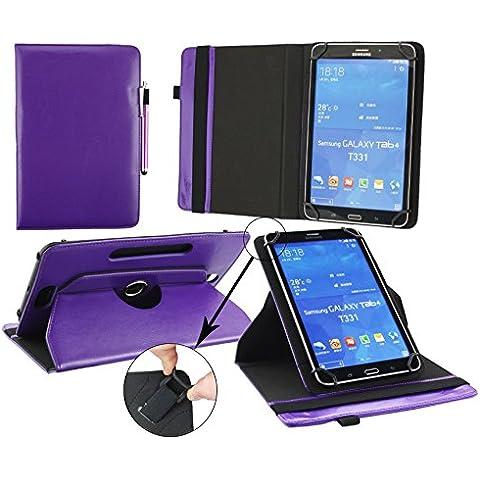 Emartbuy® Airis WinPAD 70W Tablet 7 Pulgada Universal ( 7 - 8 Pulgada ) Púrpura Premium Cuero PU 360 Grados Soporte Giratorio Folio Carcasa Wallet Case + Púrpura Lápiz