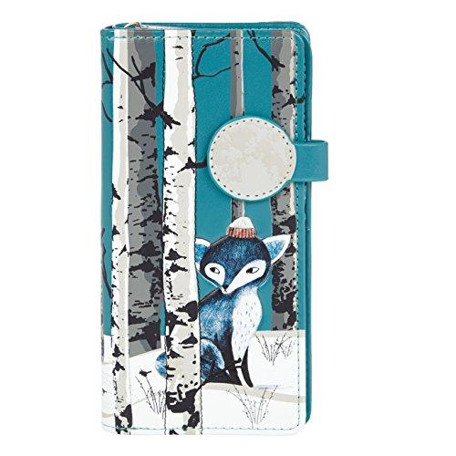 Shagwear Junge-Damen Geldbörse, Large Purse Designs: (Winter Füchse/Winter Fox-Teal) - Fox Damen-geldbörse