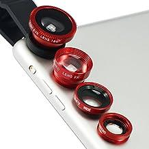 First2savvv JTSJ-4N1-A08 - Pack de lentes con clip para HTC Desire Eye Apple (ojo de pez, gran angular, macro y barlow), rojo