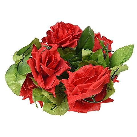 SODIAL(R) Rose Vine Guirlande Feuillage Feuille Fleur Plante Deco Mariage Fete £¨Rouge£©