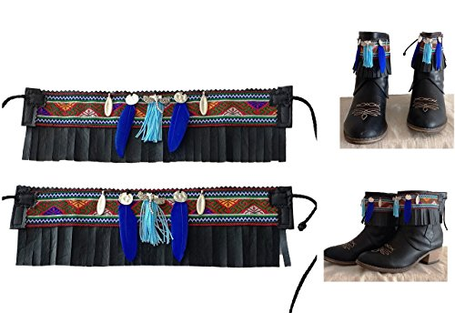Cover-Stiefel. ethnisches Country. Ornamente Stiefel. blaue Quasten Bolsohatillo. Kunstleder. Farbe zur Auswahl. Einzigartiges und exklusives Design. -