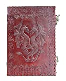 Cool Stuff Handmade Leather Journal Double Dragon 2 verrous Embossed Diary Note Book 25cmx17.5cm
