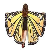 Fenverk GroßE SchmetterlingsflüGel Damen Schmetterling KostüM Erwachsene FlüGel Poncho ZubehöR FüR Show Daily Party Fasching Weicher Gewebe Schal Nymphen Pixie Cosplay Zusatz(E,168 * 135CM)