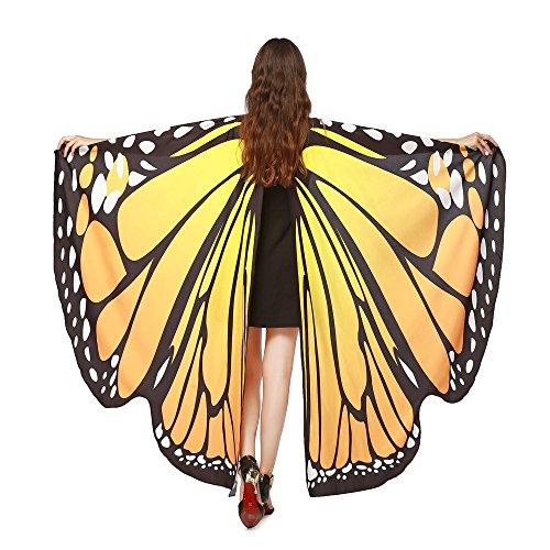 Damen Schmetterlings Flügel Schal Faschings Kostüme Frauen Butterfly-Wings Schal Frauen Weiches Gewebe Schmetterlingsflügel Halloween Party Umhang (Orange) (Weichen Schmetterlingsflügel Kostüm)