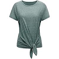 Damen Mode Hemdshirt mit Lace-up Saum Casual Einfarbig Kurzarm T-Shirt Frauen Elegant Basic O-Ausschnitt Sommertops Kleidung Streetwear Blusenshirt
