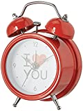 #10: Purpledip I LOVE YOU Table Alarm Clock with Ringing Bell: Portable Size, Red Color, Gift for Lover, Friend, Spouse (10624)