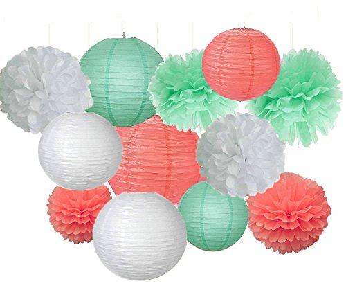 12 Papier-Pompoms,gemischt Minzgrün, Koralle, Weiß, aus Seidenpapier, zum Aufhängen, für Ball, Hochzeit, Geburtstag, 1. Mädchengeburtstag, Party, Babyparty, Party-Dekoration